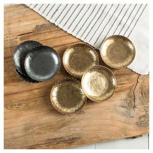 Set of 4 Mud Pie Gold Foil Tin Coasters